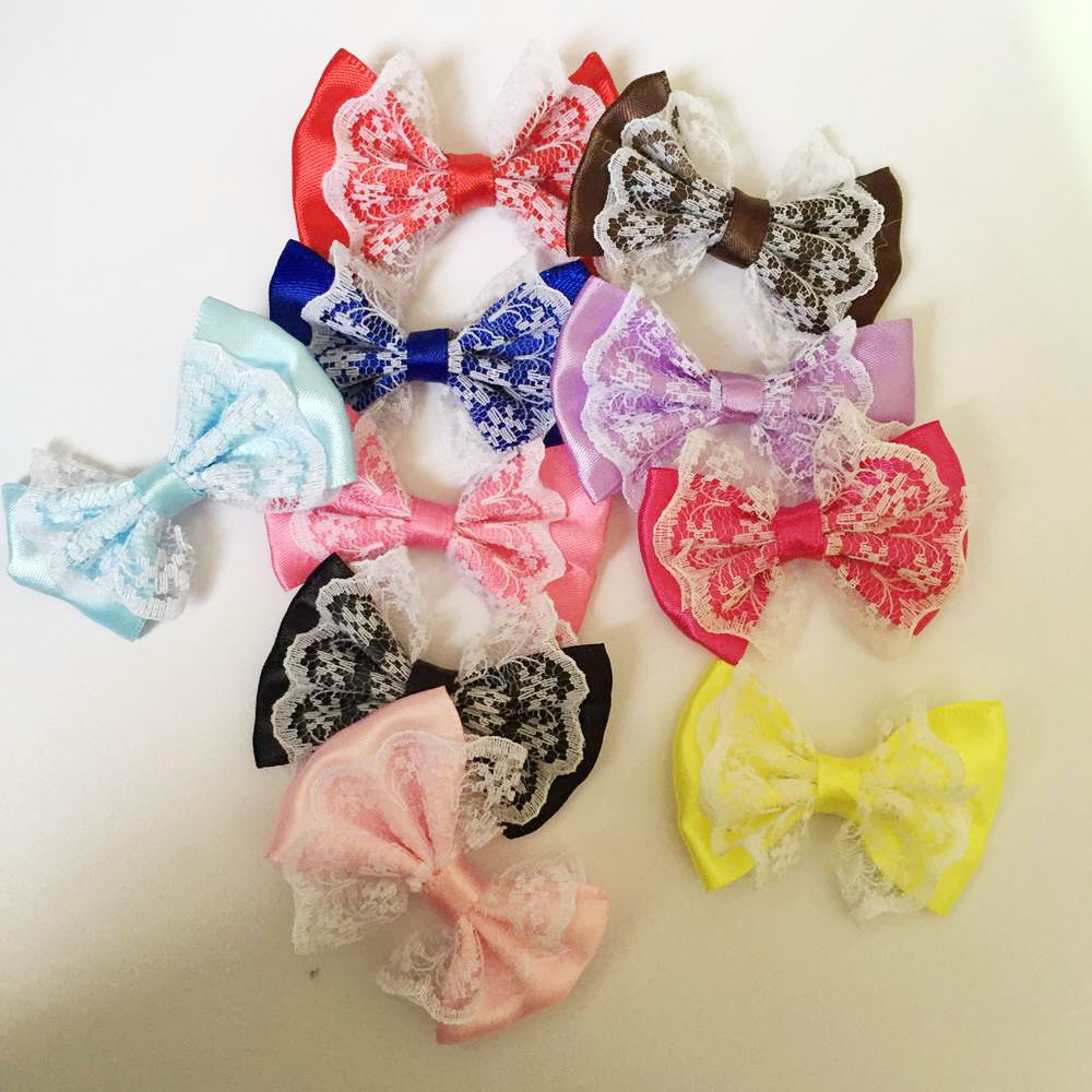 10pcs 55mm*35mm Organza Satin Ribbon Bow Appliques Craft DIY Wedding A01