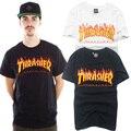 Moda caliente del verano marca Thrasher T hombres camisa de algodón impresión llama hombres T shirt top versión patinetas hip hop hombres mujeres camisetas