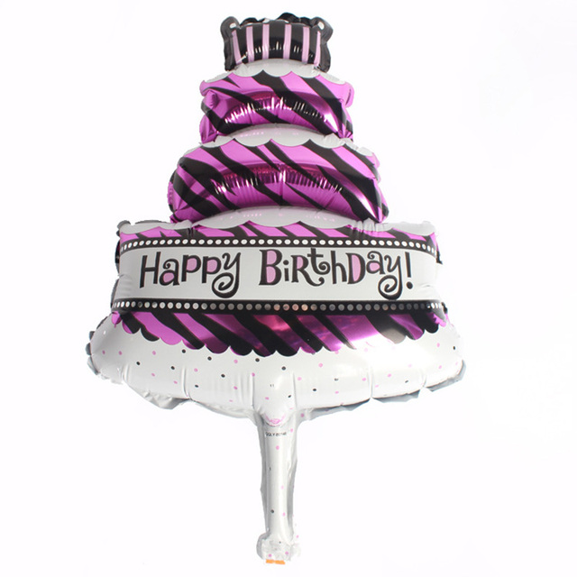 Cute Birthday Cake Foil Balloons Baby Showers Kids Girls Party Background Wall Decorations Inflatable Air Ball