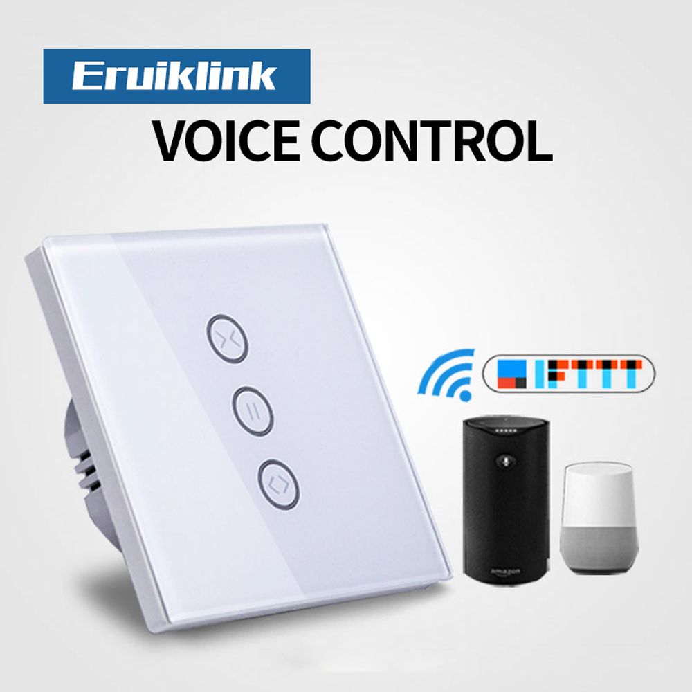 EU Standard WiFi curtain switch,Glass Panel Touch Curtain Switch, APP Voice control by Amazon Alexa Google home for Smart Home lemaic wifi smart switch waterproof touch panel w app remote control amazon alexa google home timing function for eu plug