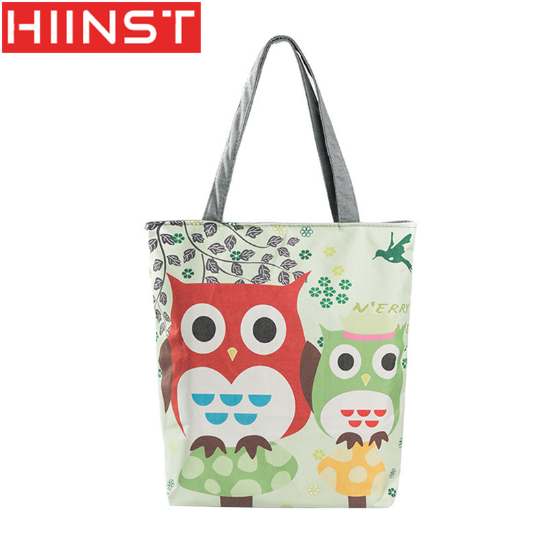 Zipper Creative Models Animal Printing Cloth Bag Handbag Owl Printing Canvas Bag Bag Cross Body Y014