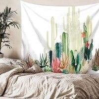 Cactus aquarela tapeçarias de parede pendurado mandala boêmio tapeçaria paisagem papel arte xale lance