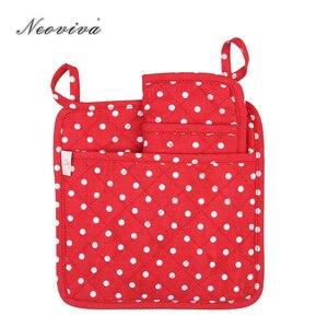 Neoviva стеганый хлопок держатель горшка для домохозяйки, набор из 2, в горошек леденец красный стол салфетки набор de столовые приборы