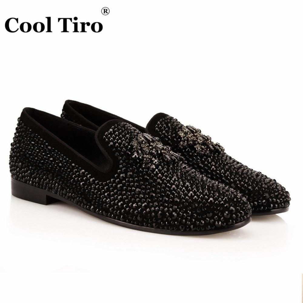 Mocasines Perforación Diamante Negro Tiro Rhinestones Flor Lujo Boda Genuino De Cuero Cool Marca Zapatos Remaches Borla nqwUxS0ICW