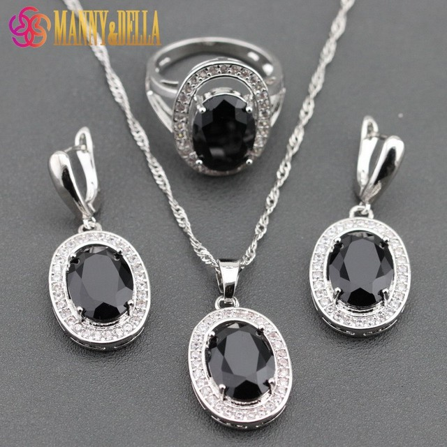 925 Sterling Silver Black Zircon White Crystal Jewelry Sets For