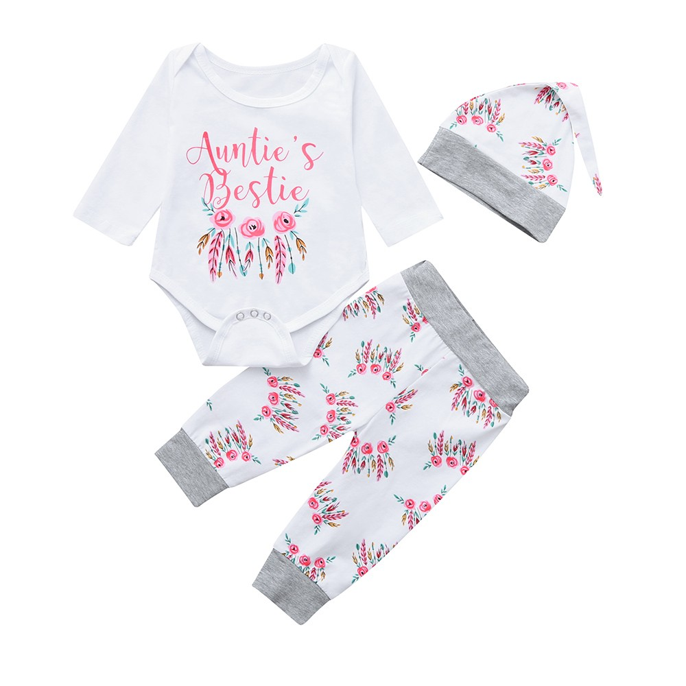 2019 New Style 2019 Newborn Infant Kid Baby Girl Clothes Sets Short Sleeve O-neck T-shirt Floral Romper Bodysuit Jumpsuit Outfit Wholesale Hot Clothing Sets Girls' Baby Clothing