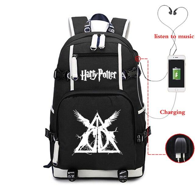 Carregamento USB Luminosa Meninas Mochila Adolescente Escola Bags Canvas Bookbag Bagpack Meninos Laptop Mochila de Viagem Ocasional Mochila Preta