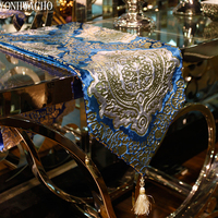 luxury modern European embroidered blue TV cabinet table bed flag table runner N561
