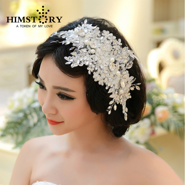 Handmade Lace Wedding Tiara Rhinestone Pearl Bridal Hair Accessories Crystal Headband Jewelry
