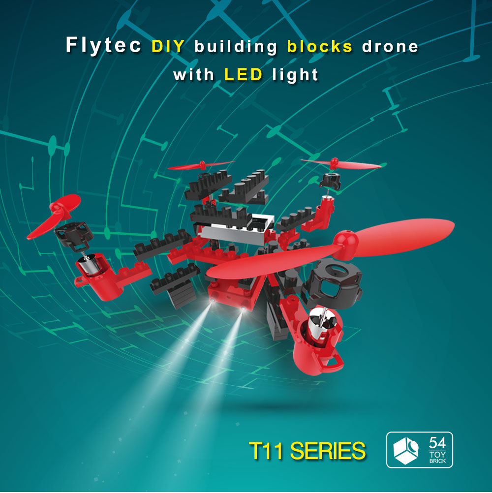 Flytec T11 DIY Building Block Drone Helicopters 2.4G 4CH Mini Drones 3D DIY Bricks Creative Quadcopter DIY Educational Toy diy diy
