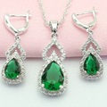 ASHLEY Silver Color Jewelry Sets For Women Green Created Emerald Adornment Jewelry Woman Earrings/Pendant/Necklace Free Gift Box