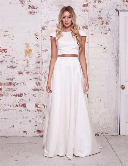 084143a812 2016 de dos piezas de manga corta vestido de novia sencillos baratos satén  de la novia
