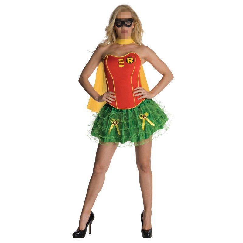 Vocole Halloween Adult DC Comics Robin Corset Costume Sexy Batman Superhero Robin Hood Cosplay Corset Tutu Party Uniform