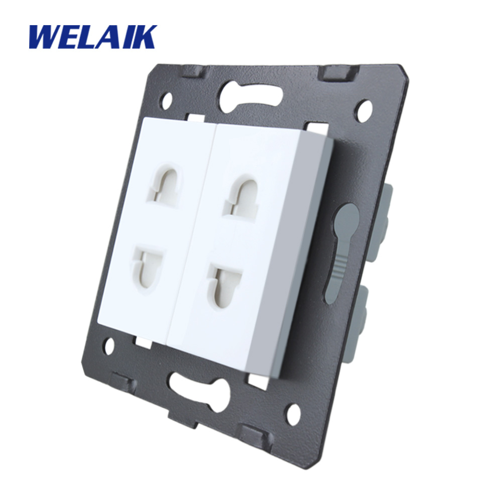 WELAIK EU Standard 2-hole multi-function socket DIY Parts White Wall Socket parts Without Glass Panel A82TSW diy parts rca socket connectors white silver 10 piece pack