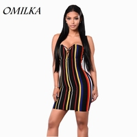 OMILKA 2017 Hot Summer Women Strapless Striped Printed Bodycon Dress Sexy Colorful Backless Night Club Party Mini Dress