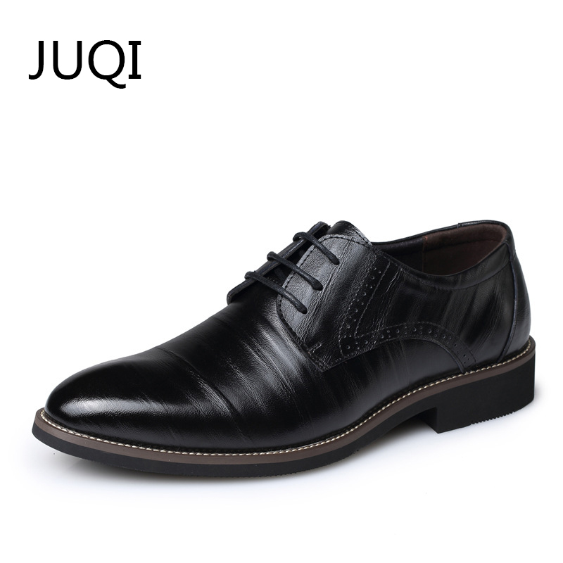 JUQI Men'S Dress Shoes Men Casual Shoes For Luxury Brand Genuine Leather Solid Brogue Loafers Moccasins Lace Up Rubber Shoes