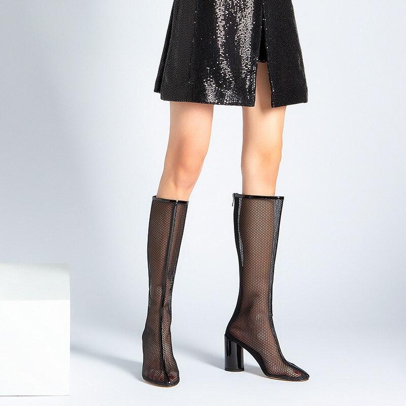 De Creusant Zip Bal Bottes Hautes Dames blanc Black D'été Femmes Pour Mode Élégant Chaussures Bout Asumer 2019 Femme Rond 08knONXwP