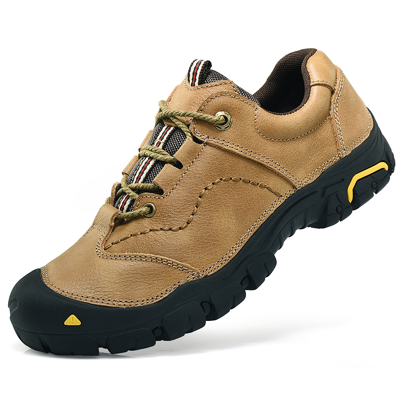 Homass Genuine Leather Hiking Boots Anti-skid Sneakers for Men Outdoor Mens Hiking Shoes Waterproof Trekking Trainer Shoes