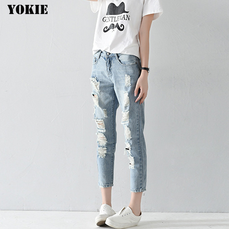 Hole ripped jeans women harem pants loose ankle-length pants Boyfriends For woman Ladies skinny jeans 1