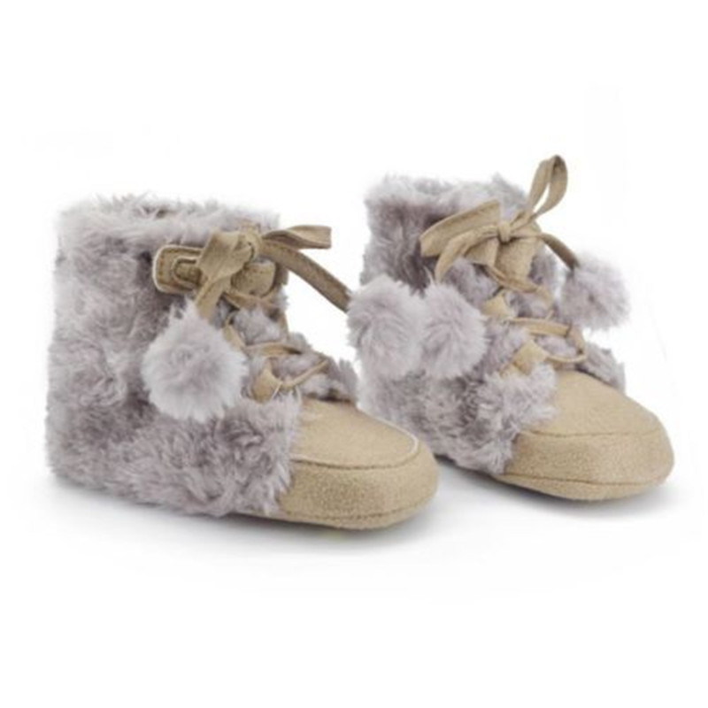 New 0-18M Winter Toddler Kids Baby Snow Boots Faux Suede Warm Soft Crib Shoes Fleece Boots M2