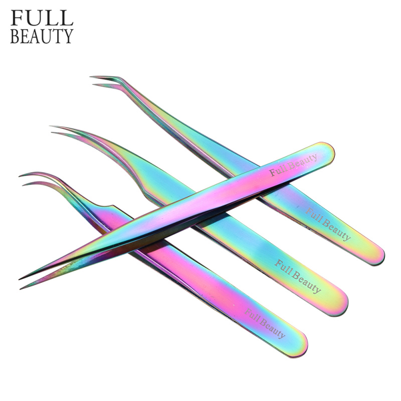 1pc Professional Eyebrow Tweezers Stainless Steel Rainbow Ultra Precision Pincet Eyelash Extension Tweezers Makeup Tools CHFB1-4