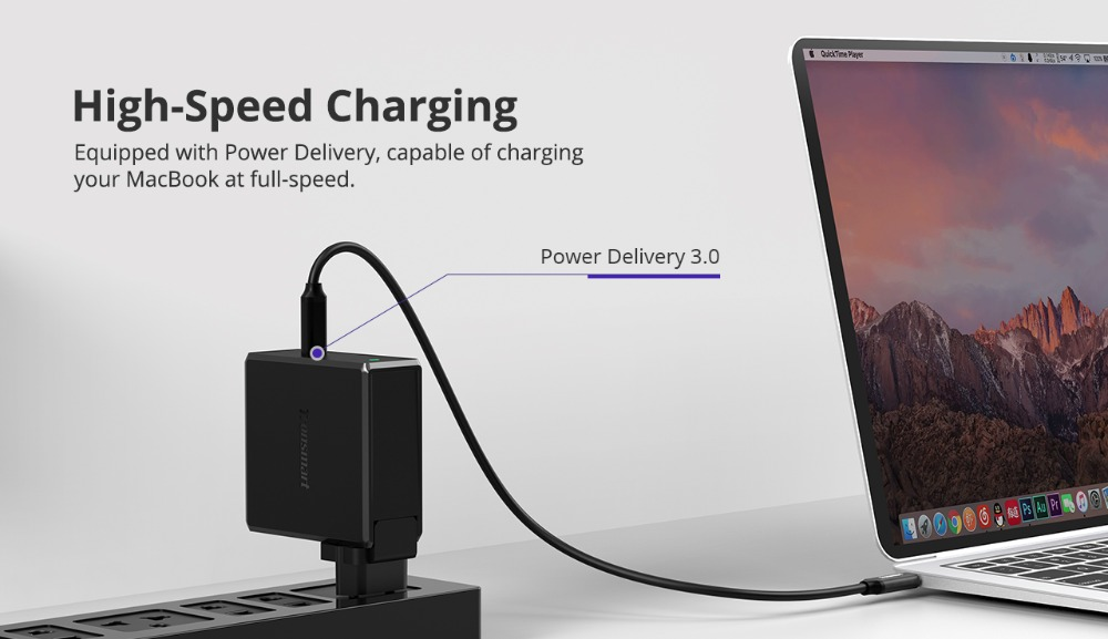 Tronsmart WCP01 60W Type C Wall Charger Power Delivery 3.0 Fast Charger Quick Charge 3.0 Phone Charger MacBook Laptop Charger02