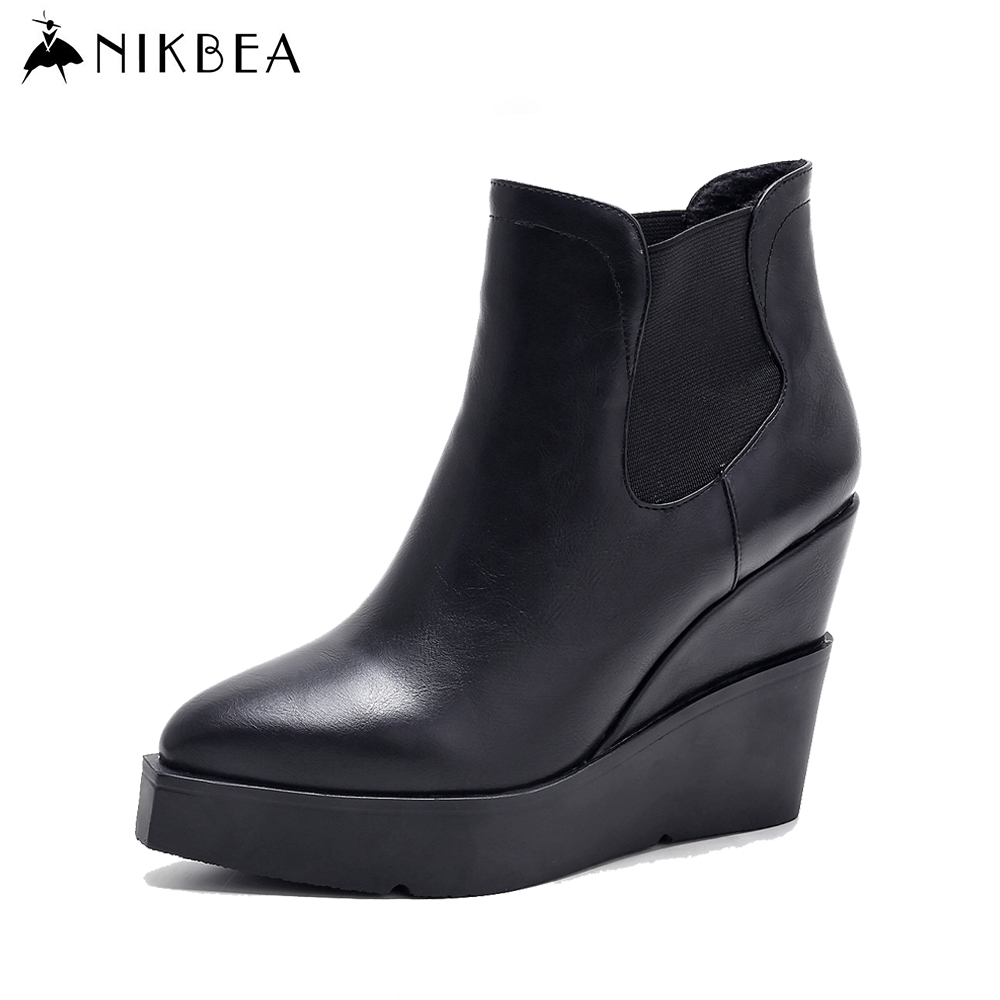 ФОТО Nikbea Platform Chelsea Boots Wedge Women Boots 2017 Spring Shoes Ankle Boots Winter Booties Black Botas Mujer Fashion Brand
