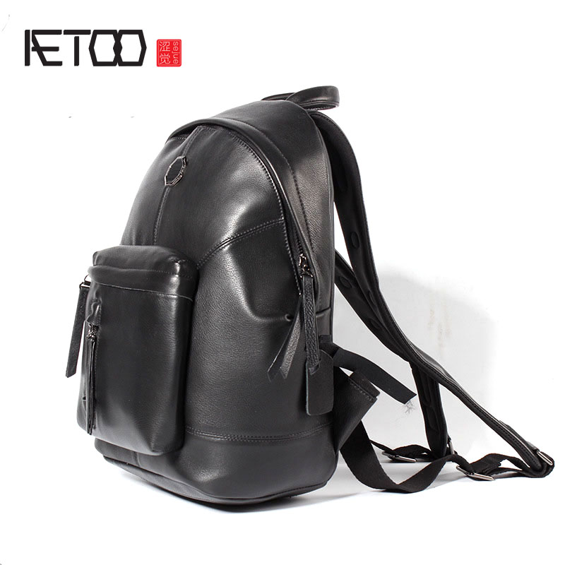 AETOO New men 's leather shoulder bag leisure travel backpack first layer of leather large capacity male leisure bag men s leather oblique cross chest packs of the first layer of leather deer pattern men s shoulder bag korean fashion men s bag