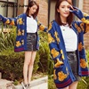 2016 Autumn And Winter Bear Print Sweater Design Short Outerwear Female V Neck Dark Blue Cardigan