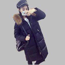 2016Winter New Women Thicken Hooded Raccoon Fur Collar Down jacket Coat Loose Big yards Leisure Pure color Down jacket CoatG1723