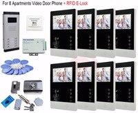 Для 8 квартиры Профессиональная домашняя безопасность 7 видеодомофоны дверной звонок Домофон + RFID с электронным замком в наличии!