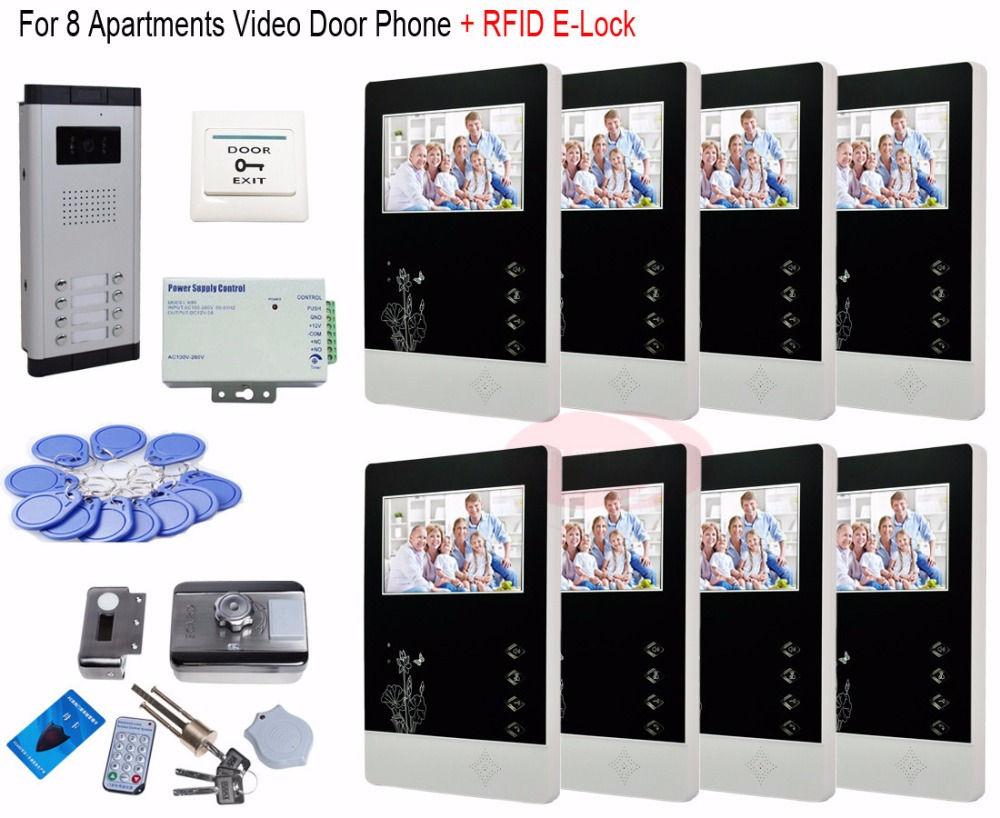 For 8 Apartments Professional Home Security 7 Video Door Phones Doorbell Intercom + RFID Electronic lock In Stock!For 8 Apartments Professional Home Security 7 Video Door Phones Doorbell Intercom + RFID Electronic lock In Stock!