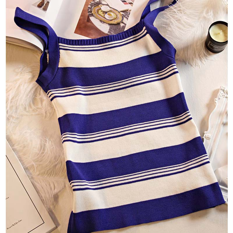 Striped Knit Tank Top O Neck Strap Crop Top Women Stretch SleeveLess Casual Female Camis Fashion New Summer Cotton Tanks Tops