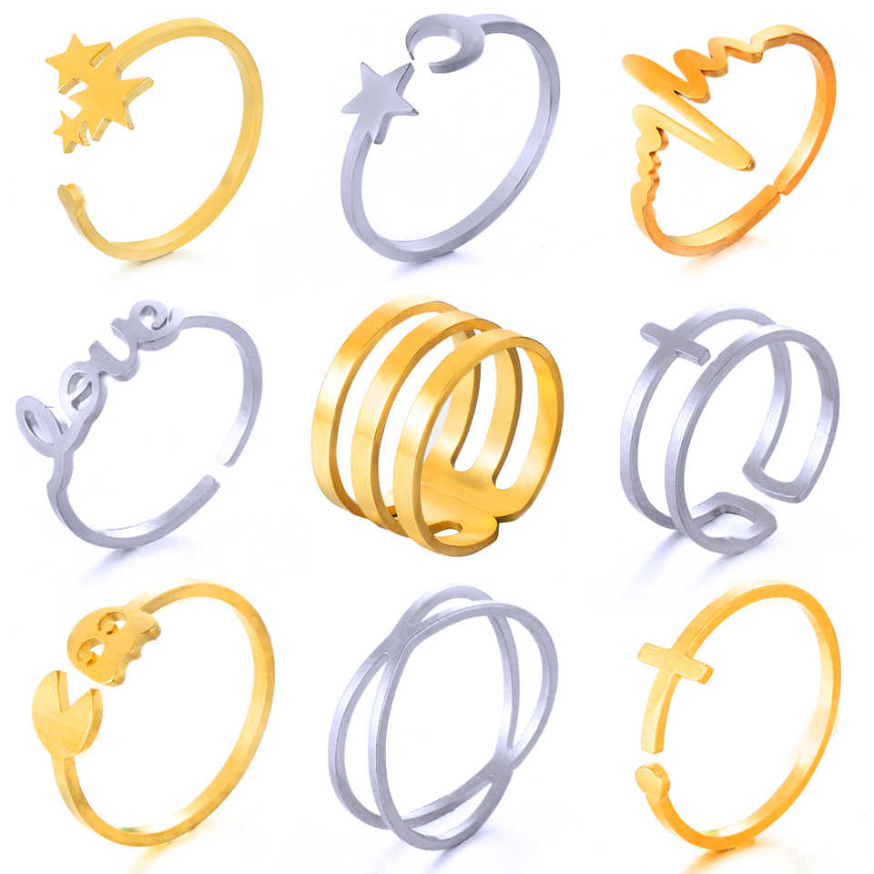 2019 Multiple Styles Fashion Minimalist Golden Silver Stainless Steel Opening Rings For Women Girls jewelry Accessories Gifts