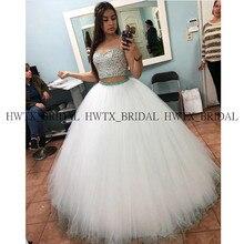 Бальное платье из двух частей пышные платья сверкающие кристаллы Белый Тюль укороченный топ сладкий 16 выпускное платье vestidos de 15 anos