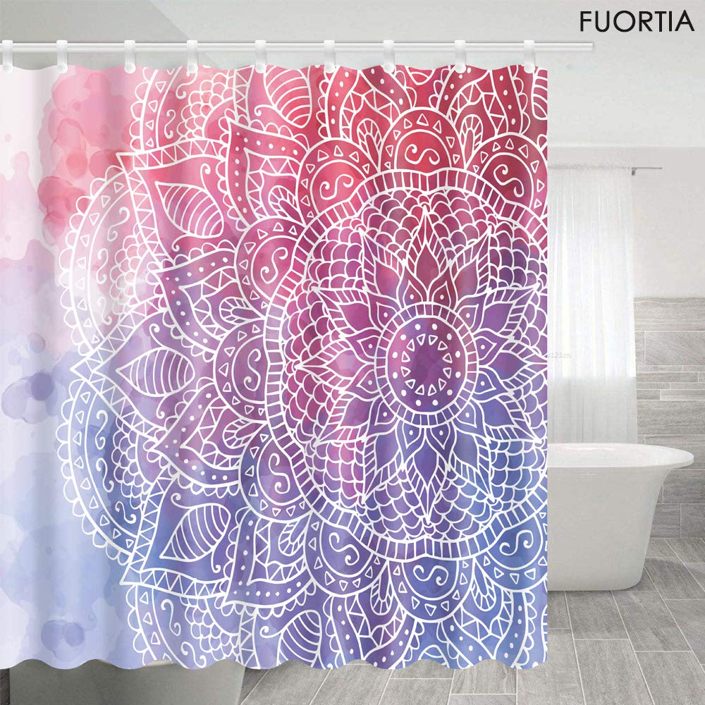 Bohemia Bathroom Shower Curtain Waterproof Fabric Curtains 12 Hooks Extra Long
