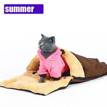 Winter washable Pet cat sleeping bag with foldable pillow Warm Soft Cat slipper bed house multifunction cat Nest pet Products