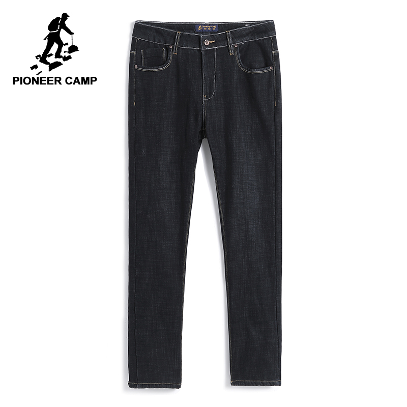 Pioneer Camp Winter Warm Fleece Jeans Men Brand-clothing Thick Denim Pants Male Quality Black Stretch Trousers ANZ710002