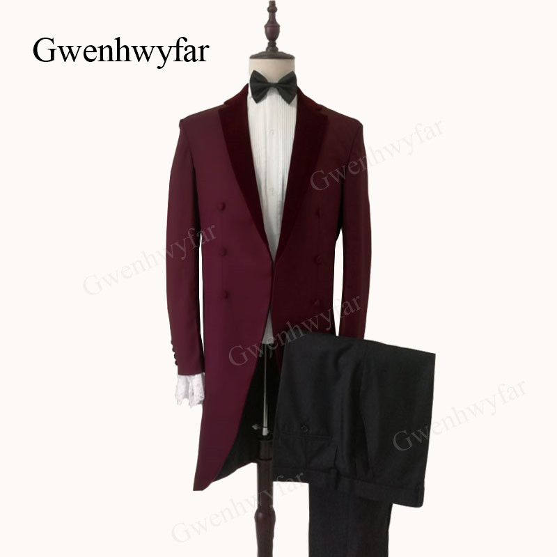 Gwenhwyfar Bugundy velours revers Tailcoat Vingtage hommes rouge foncé costumes Blazer avec pantalon noir 2019 nouveaux Designs Costume de fête pour hommes-in Costumes from Vêtements homme    1