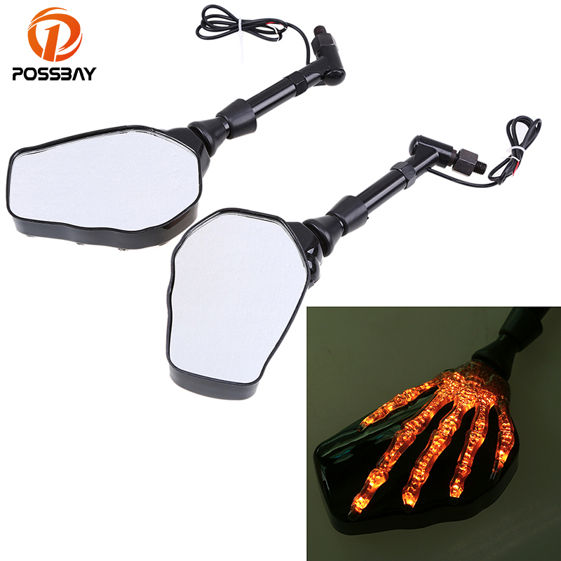 POSSBAY 8mm 10mm Universal Motorcycle Mirror with LED Turn Signal Light Rear View for Honda Haley Suzuki Scooter Side Mirrors недорго, оригинальная цена
