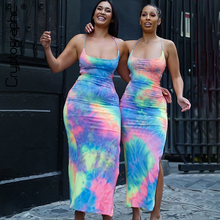 Cryptographic Fashion Tie dye Spaghetti Strap Sexy Backless Split Dress Women Summer Bandage Sleeveless Long Dresses Party Club