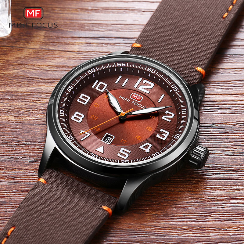 MINI FOCUS Men's Quartz Watches Large Numbers Army Sports Leather Strap Wristwatch Man Waterproof Relogios Clock 0166G Coffee