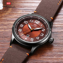 MINI FOCUS Mens Quartz Watches Large Numbers Army Sports Leather Strap Wristwatch Man Waterproof Relogios Clock 0166G Coffee