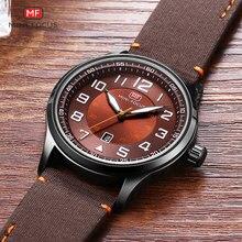 Mini focus relógio masculino de quartzo, números grandes de relógio do exército, pulseira de couro, relógio de pulso à prova d água, 0166g, café