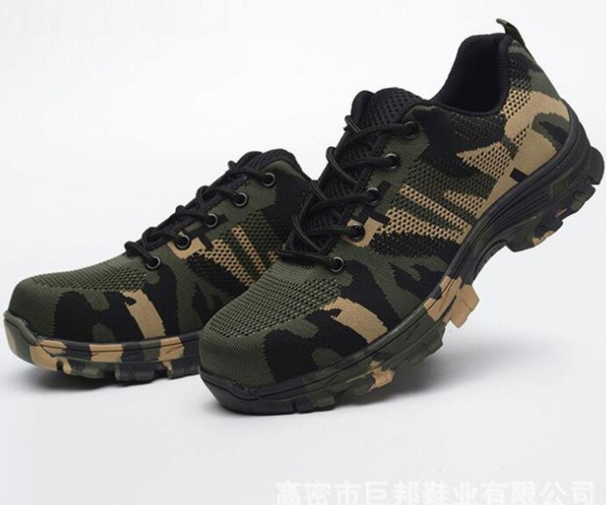 Men Safety Work Boots Fashion Camouflage Spring Breathable Mesh Steel Toe Casual Shoes Mens Labor Insurance Puncture Proof Shoes summer breathable mesh work safety shoes steel toe caps work safety puncture proof boots for men outdoor casual working shoes