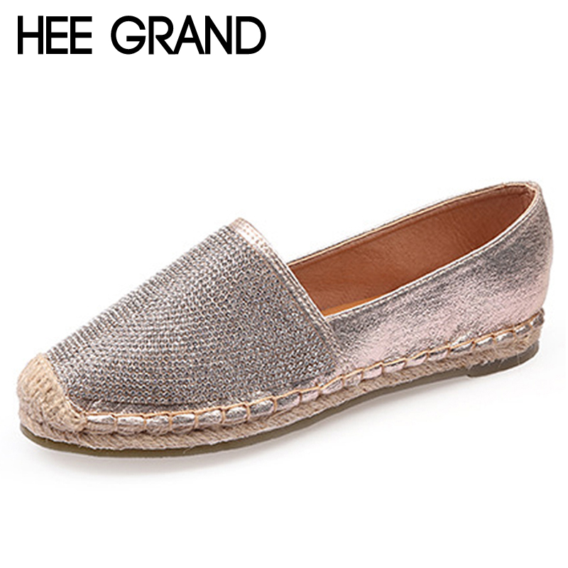HEE GRAND Bling Crystal Loafers Weave Straw Ballet Flats Casual Fisherman Shoes Woman Slip On Comfort Solid Women Shoes XWD6713 hee grand hemp loafers 2018 embroider fisherman shoes woman straw slip on casual flats platform women shoes size 35 41 xwd6317