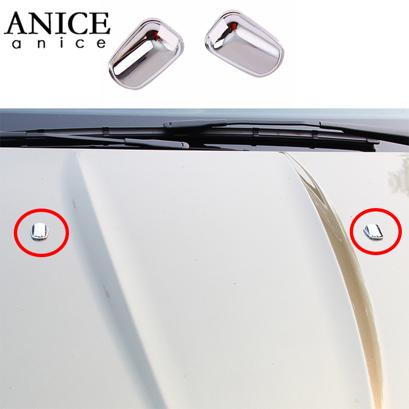 2PC Chrome ABS Front windscreen washer spray nozzle Cover trim fit For Ford ESCAPE KUGA 2013 2014 2015 2016 image