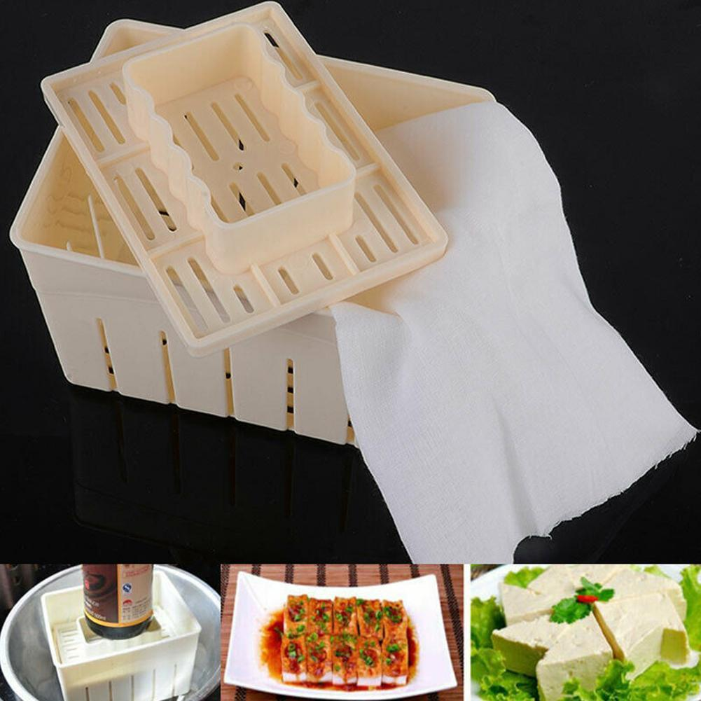New DIY <font><b>Plastic</b></font> Homemade Tofu Maker Press Mold Kit Tofu Making Machine Set Soy Pressing <font><b>Mould</b></font> with <font><b>Cheese</b></font> Cloth Cuisine image