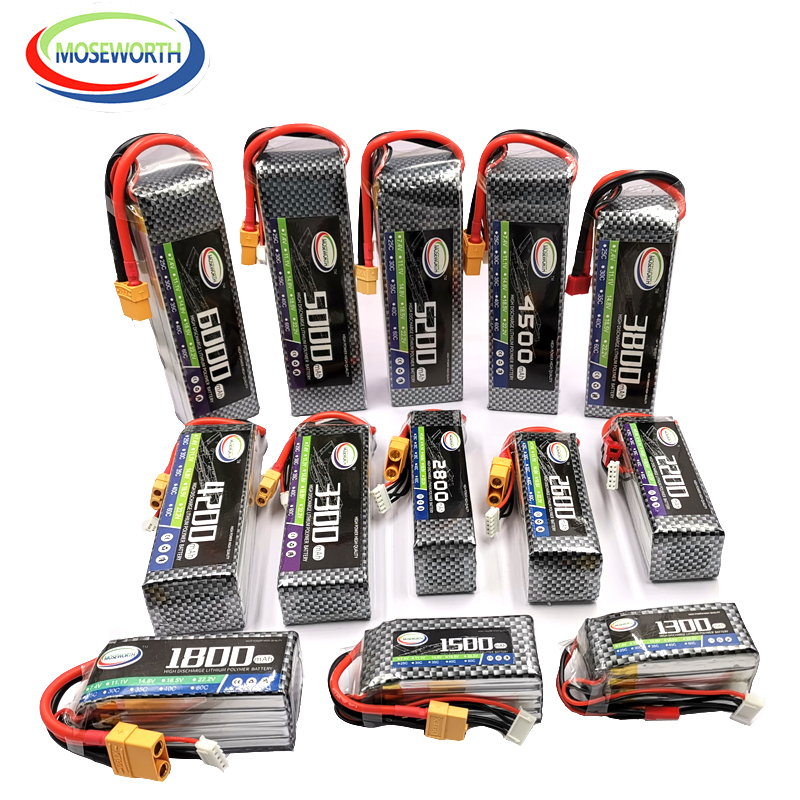 4S 14.8V RC Car LiPo Battery 1300 1800 2200 2600 3300 4500 6000mAh 30C 40C 60C For RC Airplane Drone Helicopter Battery LiPo 4S