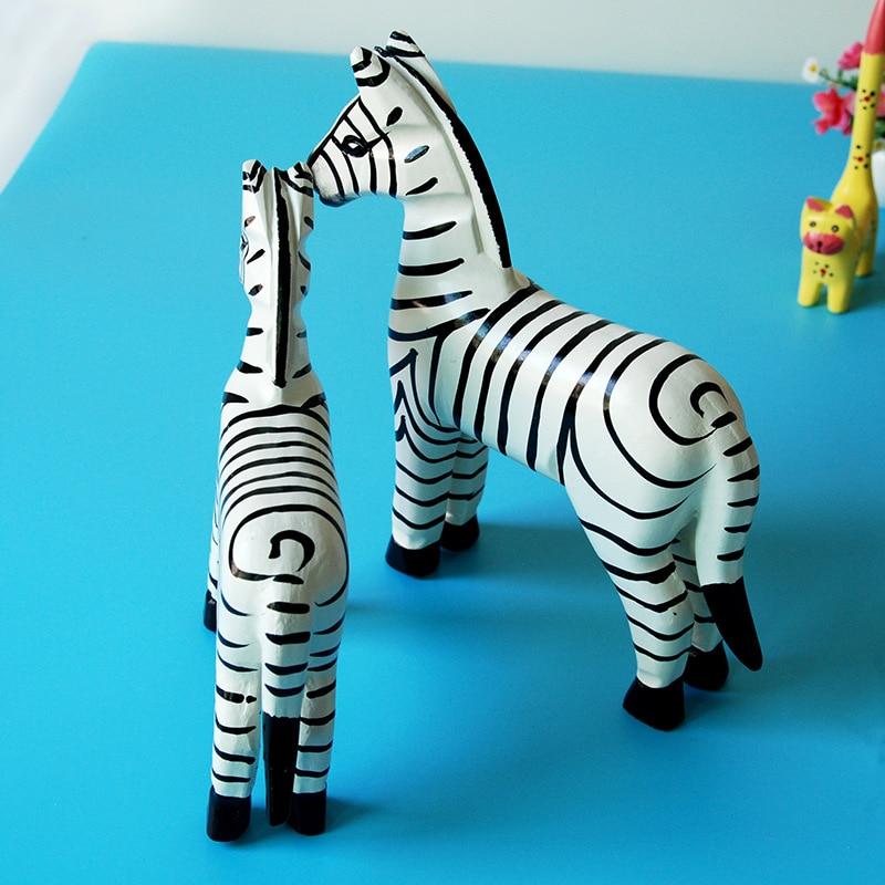 2 pièces/ensemble décor à la maison bois Statues zèbre ornements sculpté à la main cheval Figurines Miniature artisanat en bois animaux décor cadeaux de mariage - 4